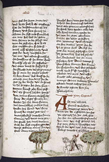 Page of text with placemarkers, rubrics, large red initial.  Figure of knight riding in lower border.