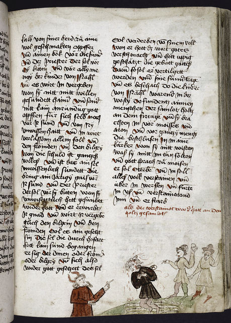 Page of text with rubric and placemarkers; miniature in lower margin of man being stoned.