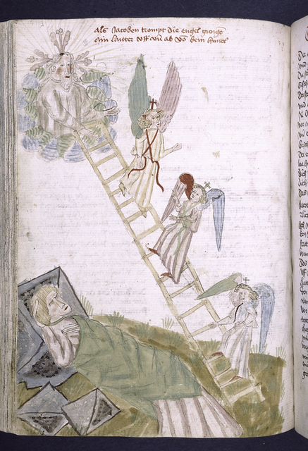 Rubric and full-page initial showing Jacob dreaming and the ladder of angels.