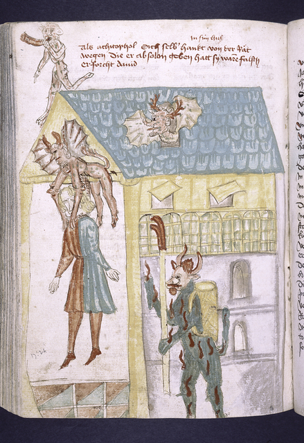 Rubric and full-page miniature of Absalom and devils.