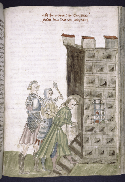Rubric and full-page miniature of Joseph put in prison.