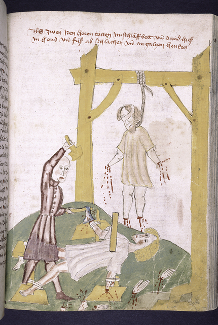 Rubric and full-page miniature of men with their hands and feet being cut off.