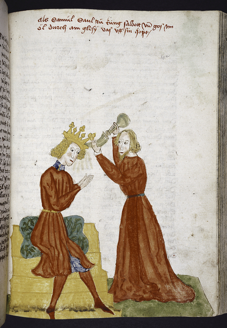 Rubric and full-page miniature of Samuel and Saul.