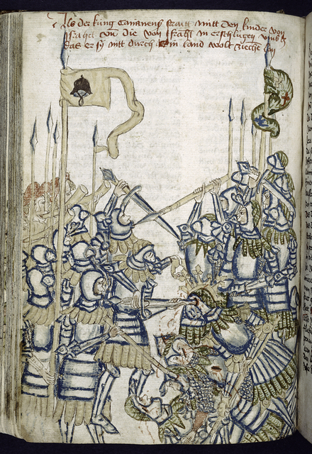 Rubric and full-page miniature showing a battle.
