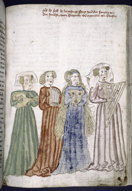 Rubric and full-page miniature showing a group of women with instruments.