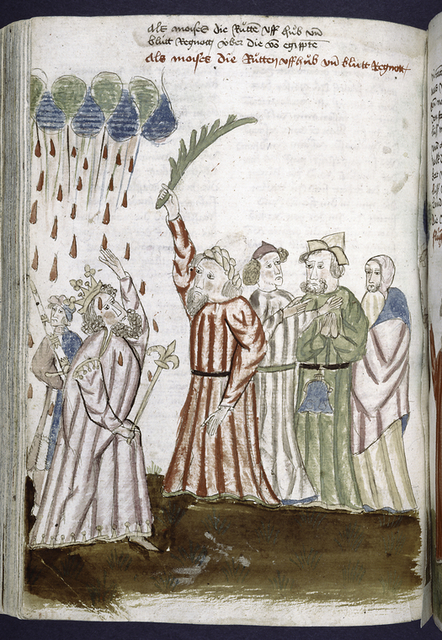 Rubric and full-page miniature showing Moses, Pharaoh, and the rain of blood.