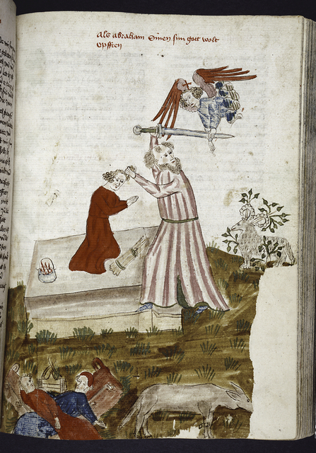 Rubric and full-page miniature showing the sacrifice of Isaac.