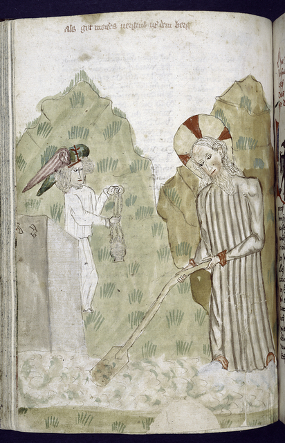 Rubric and miniature showing angel and man.