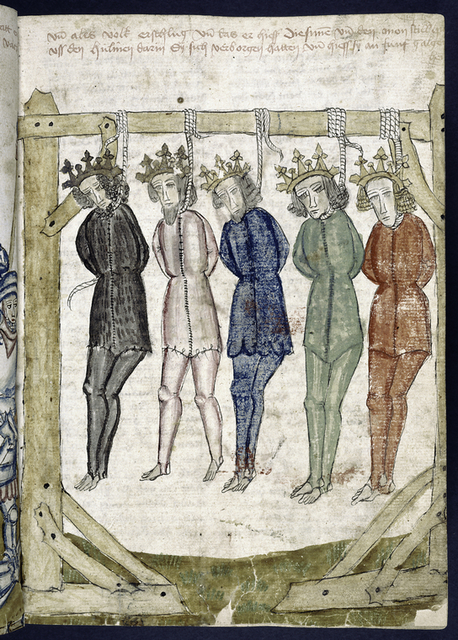 Rubric; full-page miniature of kings strung up.