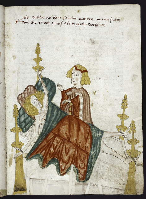 Rubric; miniature of Delilah binding Samson to a bed.