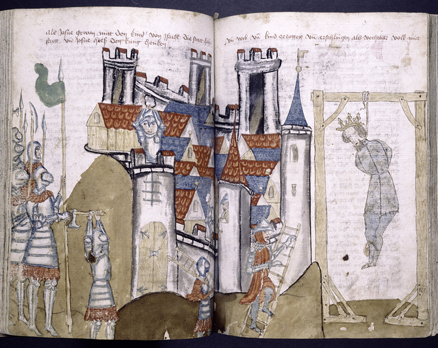 Rubrics and full-page miniature across two pages showing siege of a city and a king being hanged.