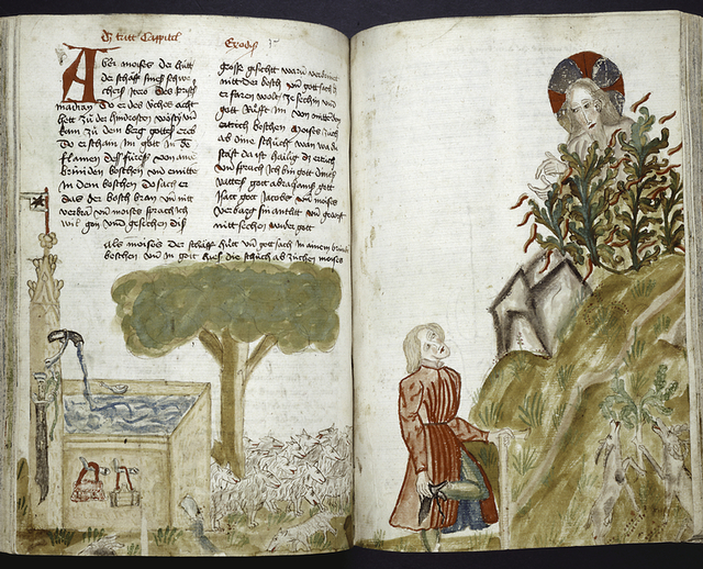 Text with large initial, rubric and placemarkers.  Miniature across two pages shows Moses and sheep, and God speaking from the burning bush.