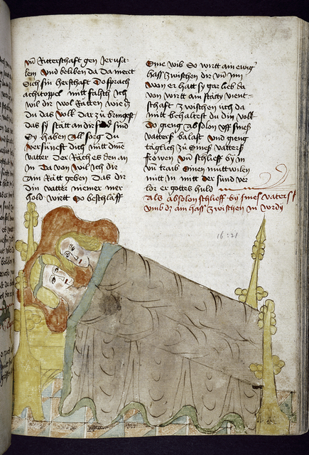 Text with placemarkers and rubric.  Half-page miniature of Absalom and a woman in bed.