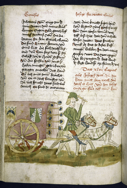 Text with placemarkers and rubric; half-page miniature of Joseph driving a wagon.