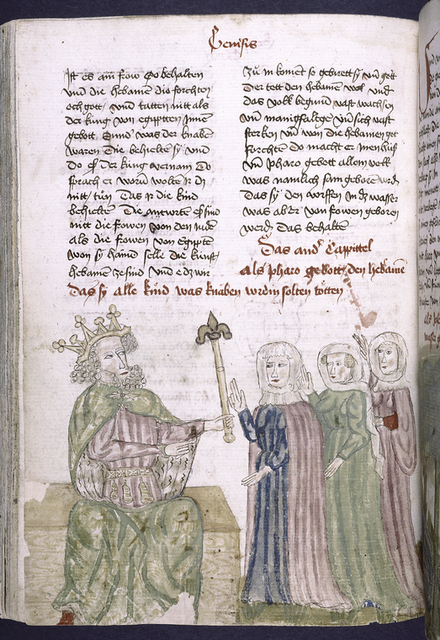 Text with placemarkers and rubric; half-page miniature showing king with three women.
