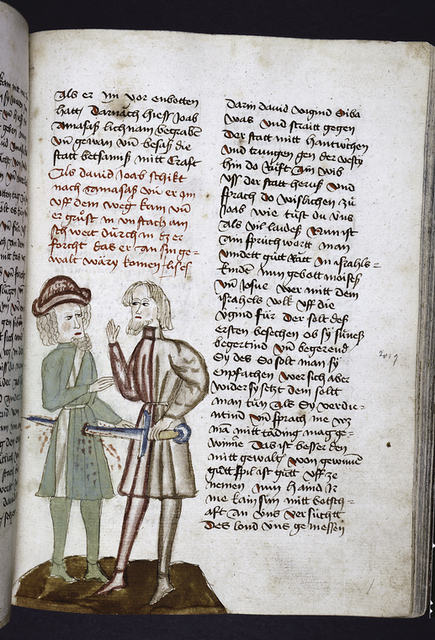 Text with placemarkers and rubric.  In one column, miniature of one man killing another.