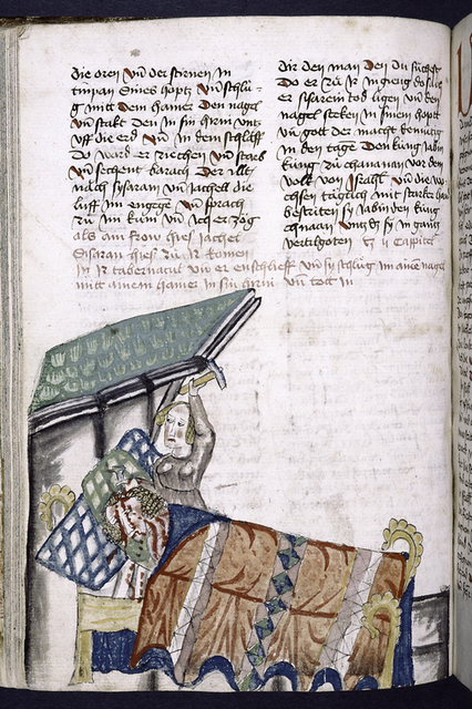 Text with placemarkers and rubric; miniature of a woman murdering a sleeping man.