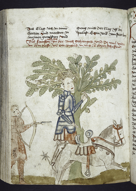 Text with placemarkers and rubric.  Miniature of Absalom caught in a tree by his hair.