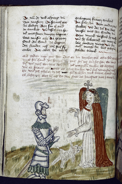 Text with placemarkers and rubric.  Miniature of angel and soldier.