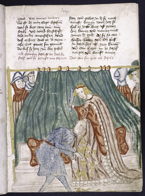 Text with placemarkers and rubric; miniature of Delilah cutting Samson's hair.