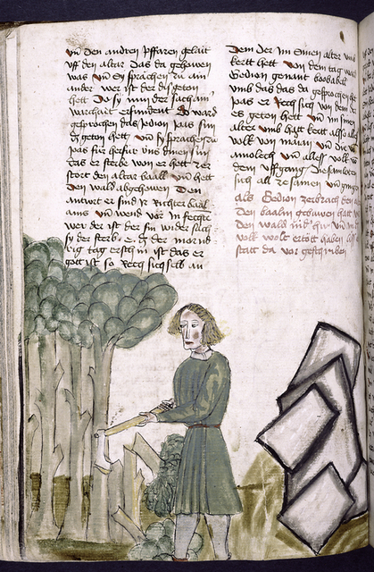 Text with placemarkers and rubric; miniature of man chopping wood.
