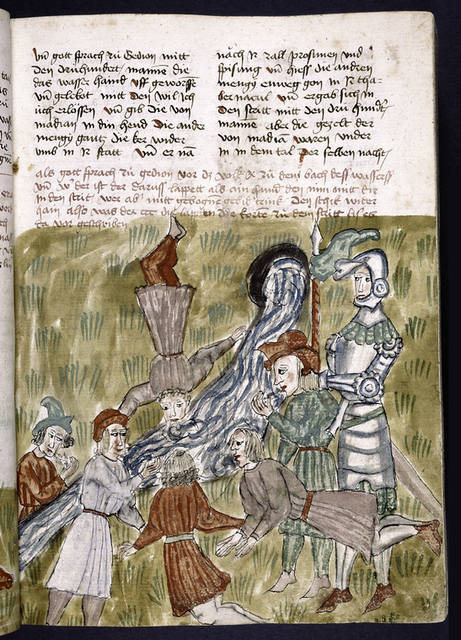 Text with placemarkers and rubric.  Miniature of men drinking.