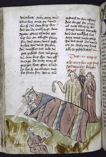 Text with placemarkers and rubric; miniature showing dead man.