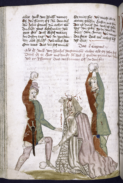 Text with placemarkers and rubric; miniature showing man being stoned.