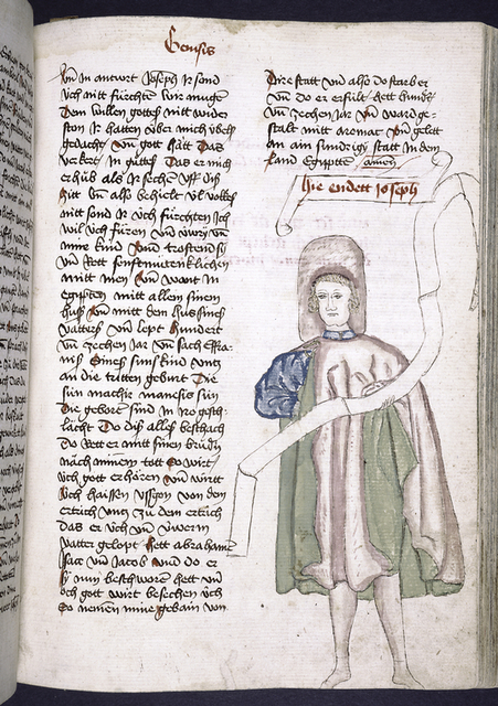 Text with placemarkers and rubric; portrait of Joseph in one column.