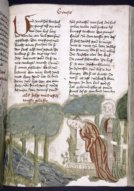 Text with placemarkers, large red initial and rubric.  Half-page miniature showing baby Moses in a basket, being placed in the river Nile.