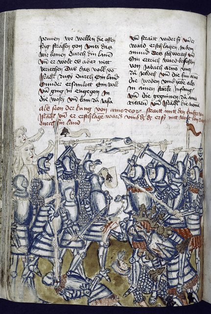 Text with placemarkers, rubric, and half-page miniature showing a battle.