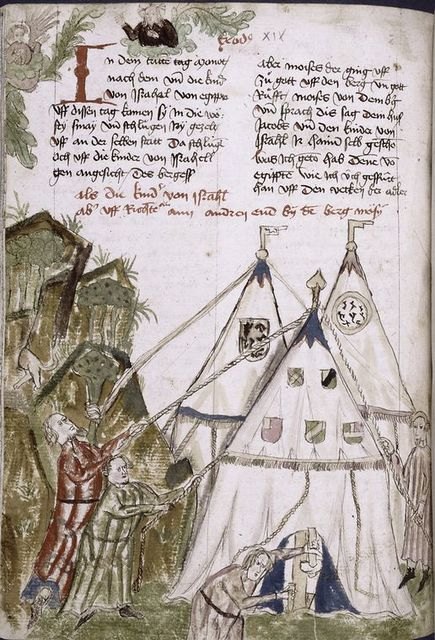 Text with placemarkers, rubric, and large red initial; half-page miniature showing men pulling down tents.  Coats of arms.
