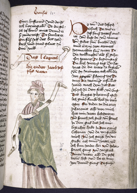 Text with placemarkers, rubric and large red initial; portrait of Jacob in one column.