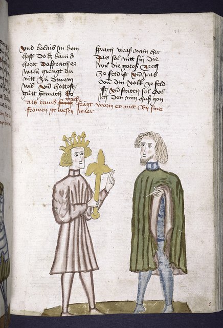 Text with rubric and placemarkers; half-page miniature of David and a man.