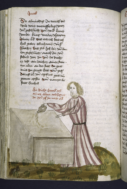 Text with rubric and placemarkers.  Half-page miniature of Jacob.