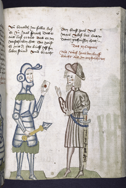 Text with rubric and placemarkers; half-page miniature of soldier delivering the letter.