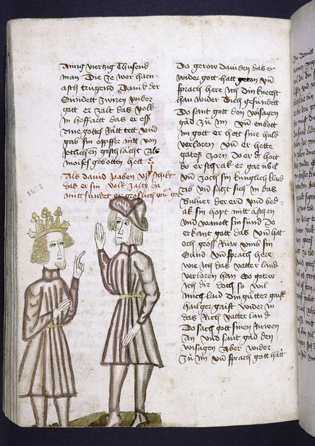 Text with rubric and placemarkers.  In one column, miniature of King David and another man.