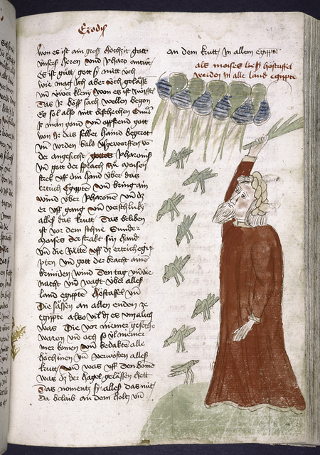 Text with rubric and placemarkers; miniature in one column of Moses and the plague of grasshoppers.