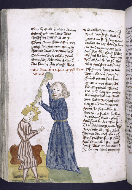 Text with rubric and placemarkers.  Miniature in one column showing David being anointed.