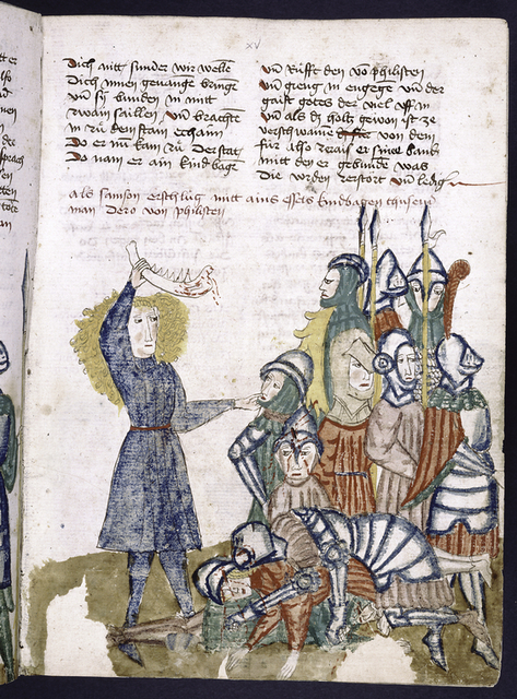 Text with rubric and placemarkers; miniature including Samson.
