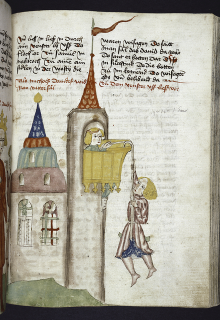 Text with rubric and placemarkers.  Miniature of David climbing a tower.