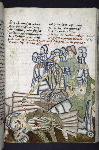 Text with rubric and placemarkers.  Miniature of men killing giants.