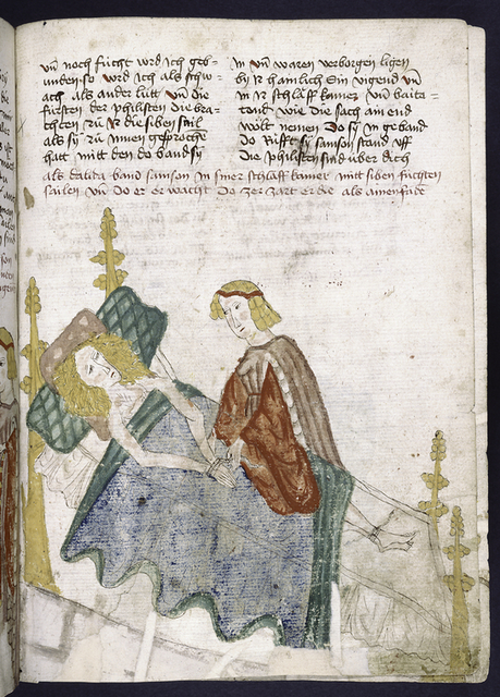 Text with rubric and placemarkers; miniature of Samson and Delilah.