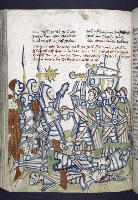 Text with rubric and placemarkers.  Miniature showing a battle.