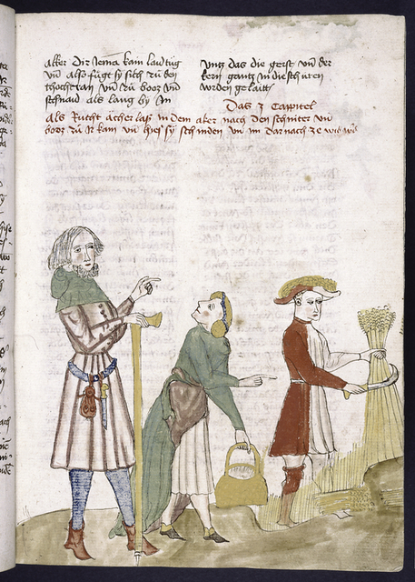 Text with rubric.  Miniature of agricultural laborers.