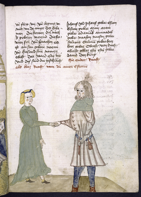 Text with rubric; miniature of Ruth and Boas.