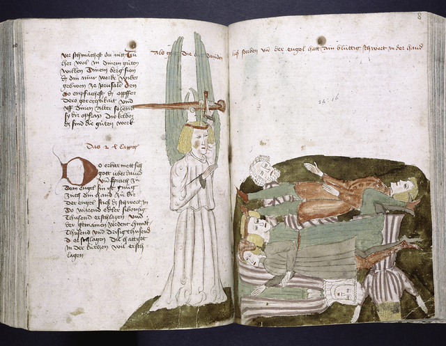 Text with rubric, placemarkers and large red initial.  Over two pages, a miniature of an angel killing people.