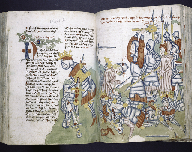 Text with rubric, placemarkers, and red, blue and green initial.  Miniature spread over two pages showing a battle.