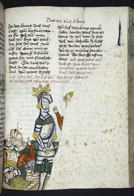 Text with rubrics and placemarkers.  Half-page miniature largely obscured by a repair.