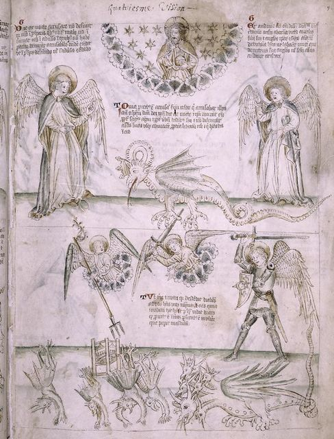 Fourth vision: God seated in glory with angels to either side, proclaims salvation; the archangel Michael fights the 7-headed dragon as devils are hurled by other angels from the sky. (Apoc. 12:7-12)